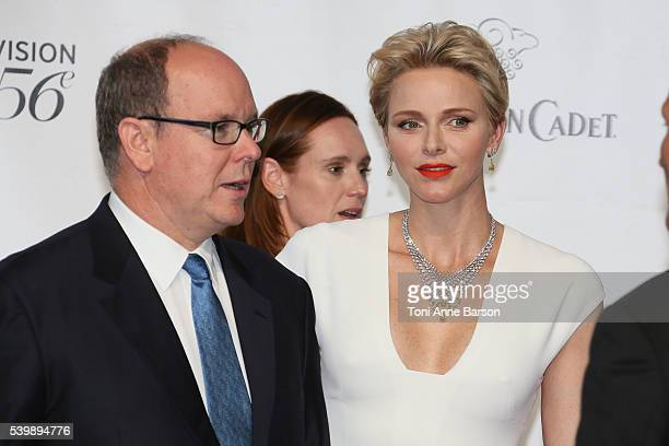 Prince Albert II of Monaco and HSH Princess Charlene arrive at the 56th Monte Carlo Opening Ceremony at the Grimaldi Forum on June 12 2016 in...
