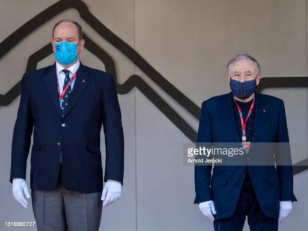 Prince Albert II of Monaco and Jean Todt attend the ABB FIA Formula E Monaco E-Prix on May 08, 2021 in Monaco, Monaco.
