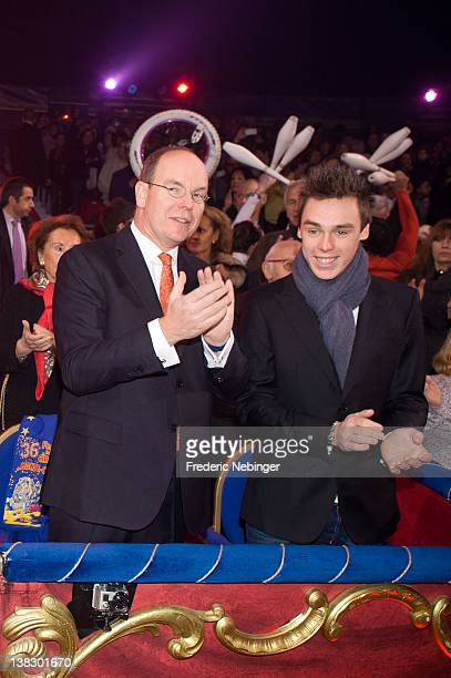 Prince Albert II of Monaco and Louis Ducruet attend the 'New Generation' First Young Artists Circus Competition in Monaco Award Ceremony at Chapiteau...
