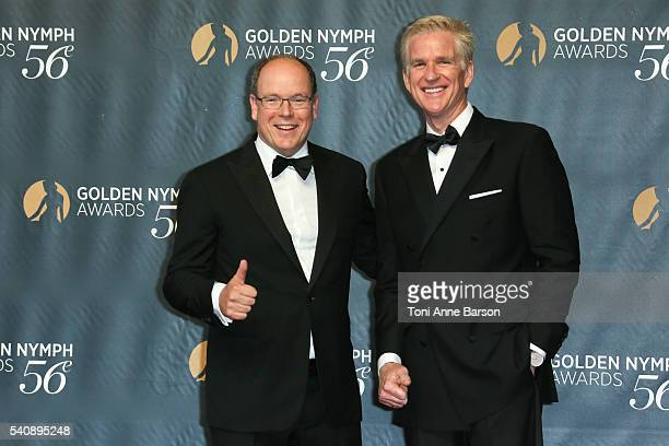 Prince Albert II of Monaco and Matthew Modine arrive at the 56th Monte Carlo TV Festival Closing Ceremony and Golden Nymph Awards at The Grimaldi...