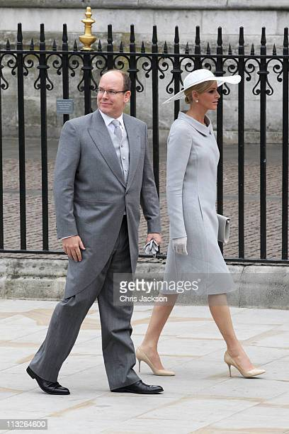Prince Albert II of Monaco and Miss Charlene Wittstock arrive to attend the Royal Wedding of Prince William to Catherine Middleton at Westminster...