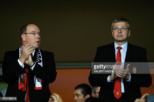 Prince Albert II of Monaco and Monaco's Russian president Dmitriy Rybolovlev attend the UEFA Champions League quarter final second leg football match...