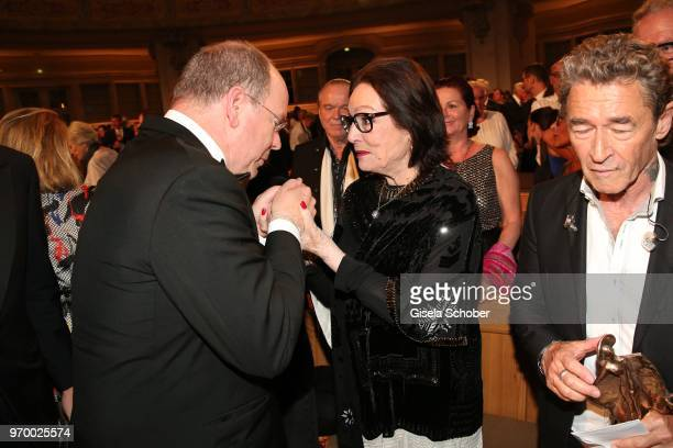 Prince Albert II of Monaco and Nana Mouskouri during the European Culture Awards TAURUS 2018 at Dresden Frauenkirche on June 8 2018 in Dresden Germany