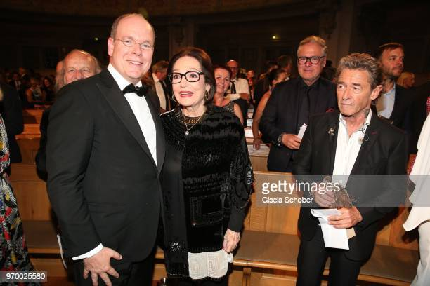 Prince Albert II of Monaco and Nana Mouskouri Peter Maffay during the European Culture Awards TAURUS 2018 at Dresden Frauenkirche on June 8 2018 in...