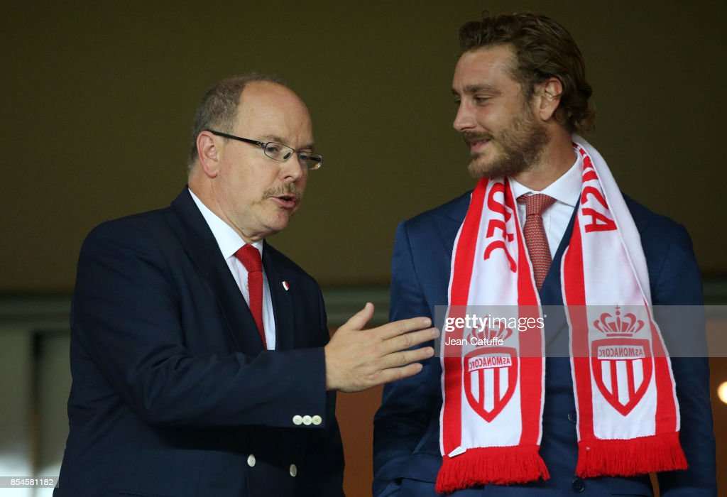 Prince Albert II of Monaco and nephew Pierre Casiraghi attend the UEFA Champions League group G match between AS Monaco and FC Porto at Stade Louis II on September 26, 2017 in Monaco, Monaco.