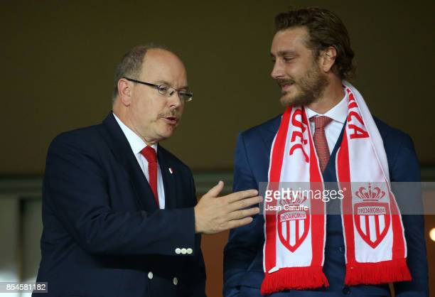 Prince Albert II of Monaco and nephew Pierre Casiraghi attend the UEFA Champions League group G match between AS Monaco and FC Porto at Stade Louis...