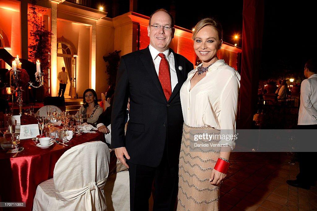 Prince Albert II of Monaco and Ornella Muti attend Taormina Filmfest and Prince Albert II Of Monaco Foundation Gala Dinner at on June 16, 2013 in Taormina, Italy.