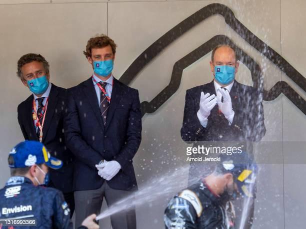 Prince Albert II of Monaco and Pierre Casiraghi attend the ABB FIA Formula E Monaco E-Prix on May 08, 2021 in Monaco, Monaco.
