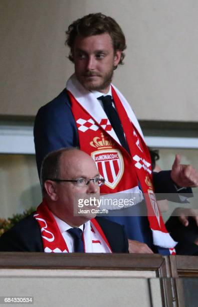 Prince Albert II of Monaco and Pierre Casiraghi attend the French Ligue 1 match between AS Monaco and AS Saint-Etienne at Stade Louis II on May 17,...
