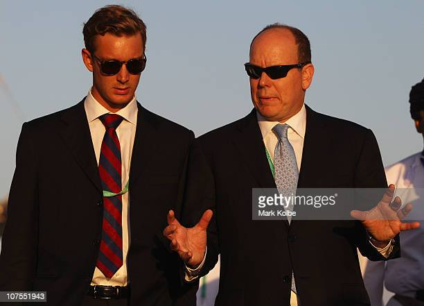 Prince Albert II of Monaco and Pierre Casiraghi walk around the media facilities during day 6 of the 2nd Asian Beach Games at AlMusannah Sports City...