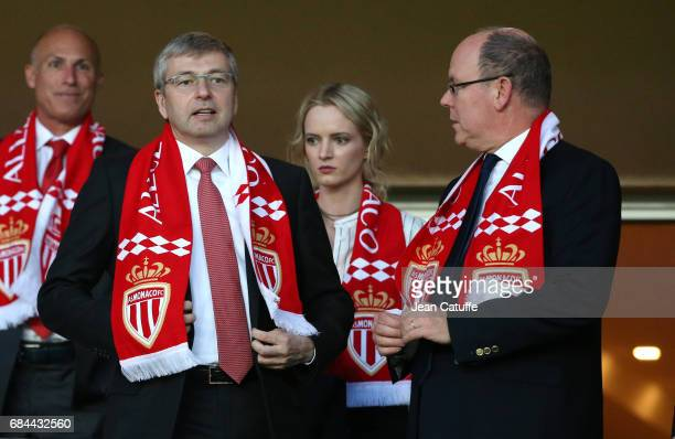 Prince Albert II of Monaco and President of AS Monaco Dmitri Rybolovlev attend the French Ligue 1 match between AS Monaco and AS SaintEtienne at...
