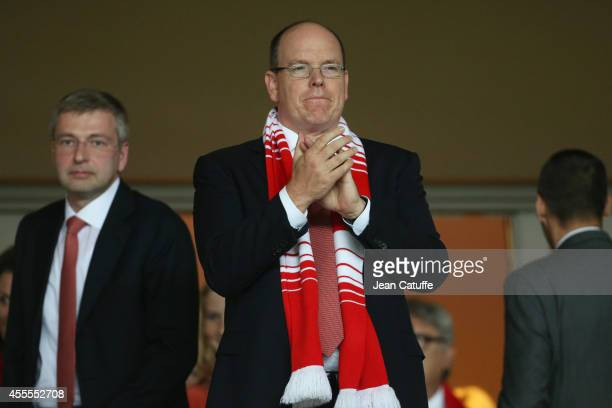 Prince Albert II of Monaco and President of AS Monaco Dmitry Rybolovlev attend the UEFA Champions League Group C match between AS Monaco FC and Bayer...