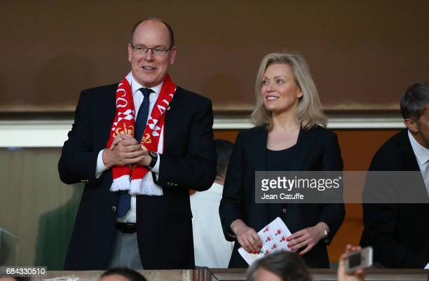 Prince Albert II of Monaco and President of LFP Nathalie Boy de La Tour during the French Ligue 1 Championship title following the French Ligue 1...