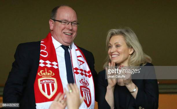 Prince Albert II of Monaco and President of LFP Nathalie Boy de la Tour during the French League 1 Championship title celebration following the...