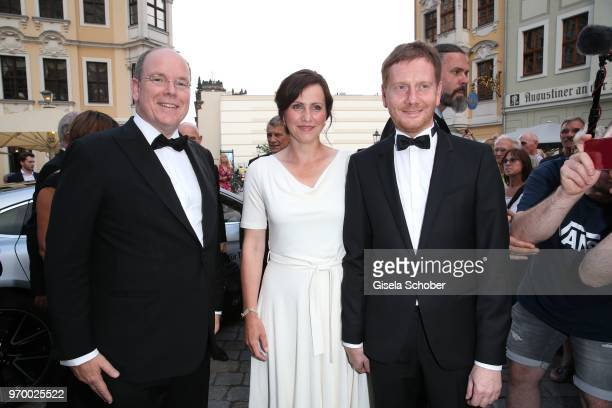 Prince Albert II of Monaco and Prime Minister of Saxony Michael Kretschmer and his partner Annett Hofmann during the European Culture Awards TAURUS...