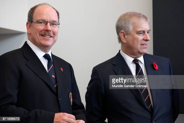 Prince Albert II of Monaco and Prince Andrew Duke of York during the 1st Prince's Cup on November 8 2017 in Monaco Monaco