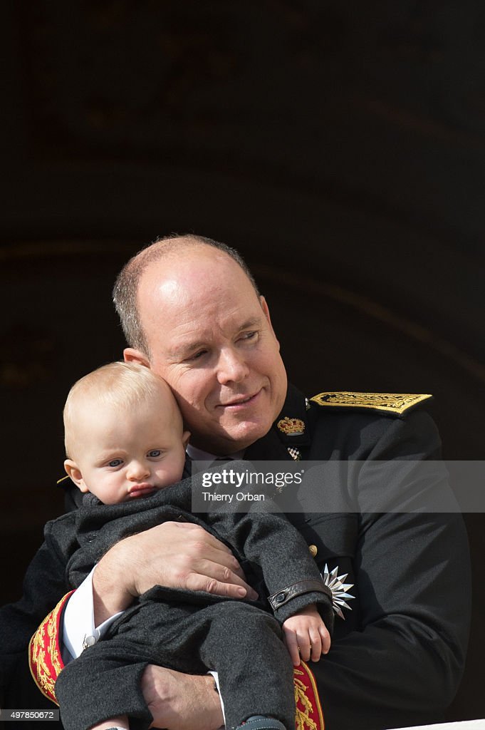Prince Albert II of Monaco and Prince Jacques appear on the Balcony during the Monaco national day on November 19, 2015 in Monaco, Monaco.