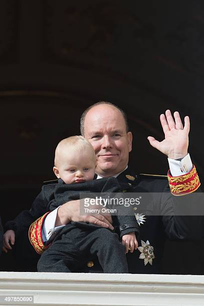 Prince Albert II of Monaco and Prince Jacques appear on the Balcony during the Monaco national day on November 19 2015 in Monaco Monaco