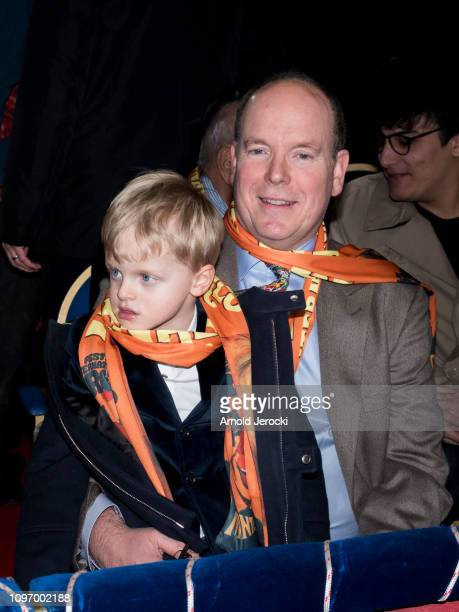 Prince Albert II of Monaco and Prince Jacques attend the 43rd International Circus Festival of MonteCarlo on January 20 2019 in Monaco Monaco
