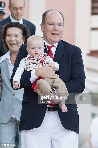 Prince Albert II of Monaco and Prince Jacques attend the annual traditional 'Pique Nique Monegasque' on August 28 2015 in Monaco Monaco