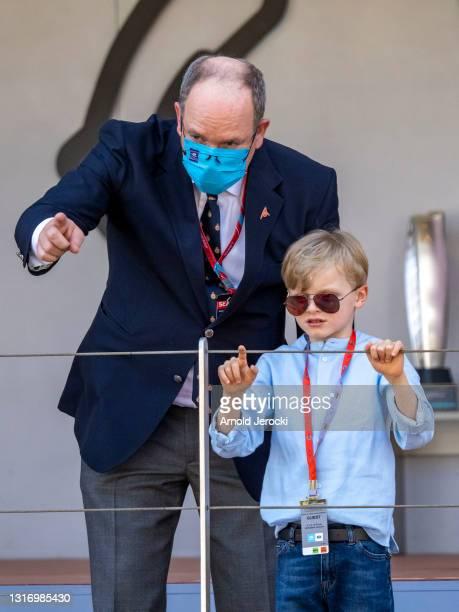 Prince Albert II of Monaco and Prince Jacques attends the ABB FIA Formula E Monaco E-Prix on May 08, 2021 in Monaco, Monaco.