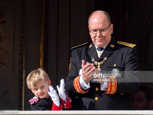 Prince Albert II of Monaco, and Prince Jacques stand at the Palace balcony during the Monaco National Day Celebrations on November 19, 2019 in...