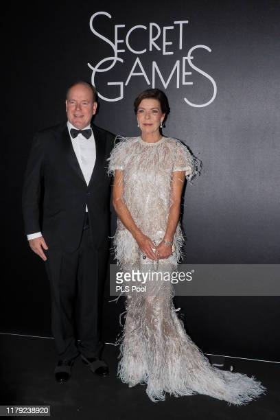 Prince Albert II of Monaco and Princess Caroline of Hanover attend the Secret Games Party at Monaco Casino on October 05, 2019 in Monaco, Monaco.