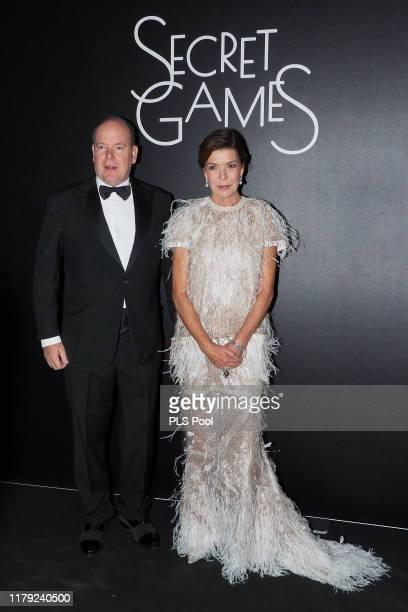 Prince Albert II of Monaco and Princess Caroline of Hanover attend the Secret Games Party at Monaco Casino on October 05, 2019 in Monaco, Monaco.