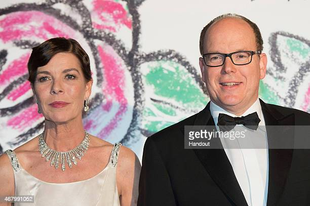 Prince Albert II of Monaco and Princess Caroline of Hanover attend the Rose Ball 2015 in aid of the Princess Grace Foundation at Sporting MonteCarlo...