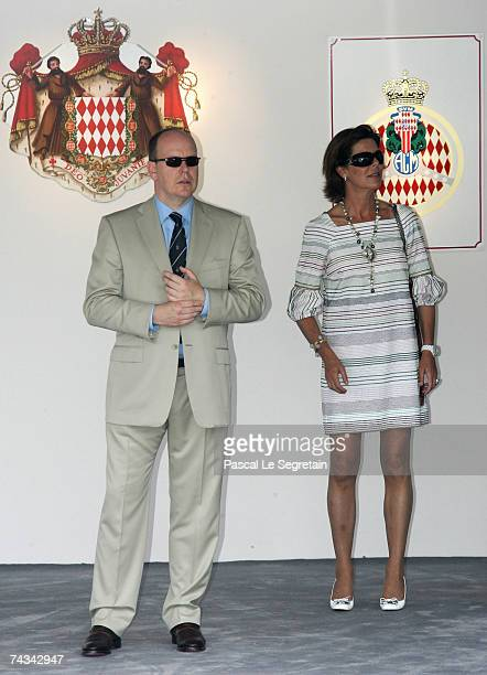 Prince Albert II of Monaco and Princess Caroline of Hanover attend the Monaco Formula One Grand Prix at the Monte Carlo Circuit on May 27 2007 in...