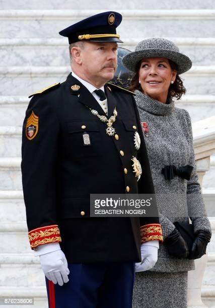 Prince Albert II of Monaco and Princess Caroline of Hanover attend the Monaco National Day celebrations at the Monaco Palace on November 19 2017 /...
