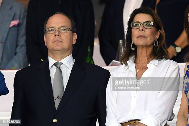 Prince Albert II of Monaco and Princess Caroline of Hanoverattend Longines Global Champions Tour of Monaco on June 24 2016 in Monaco Monaco