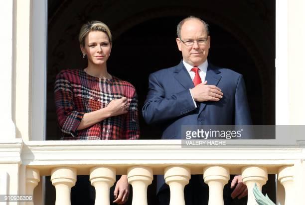 Prince Albert II of Monaco and Princess Charlene of Monaco appear on the palace's balcony during Sainte Devote Celebrations in Monaco on January 27...