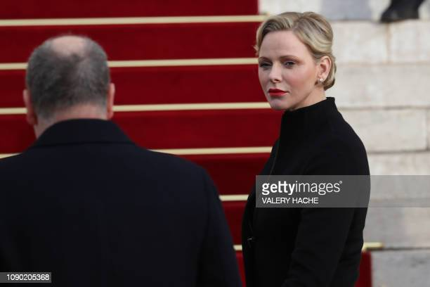 Prince Albert II of Monaco and Princess Charlene of Monaco arrive at the Monaco Cathedral during Sainte Devote Celebrations in Monaco on January 27...