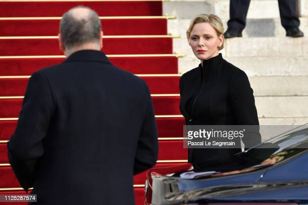 Prince Albert II of Monaco and Princess Charlene of Monaco arrive at the Monaco Cathedral for the Celebration Of The SainteDevote In Monaco on...