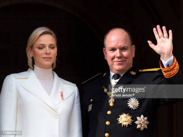 Prince Albert II of Monaco and Princess Charlene of Monaco arrive at the Monaco Cathedral during the Monaco National Day Celebrations on November 19,...