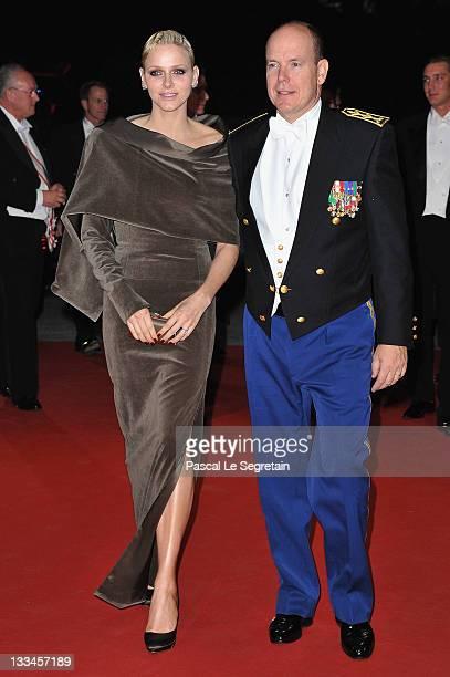 Prince Albert II of Monaco and Princess Charlene of Monaco arrive at the Monaco National day Gala concert at Grimaldi forum as part of Monaco...