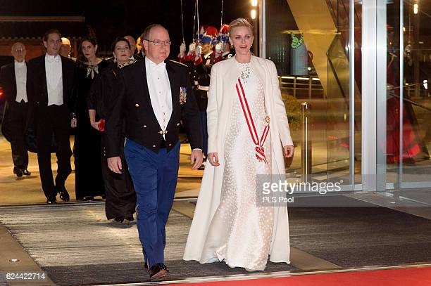 Prince Albert II of Monaco and Princess Charlene of Monaco arrive at a Gala during the Monaco National Day on November 19, 2016 in Monaco, Monaco.