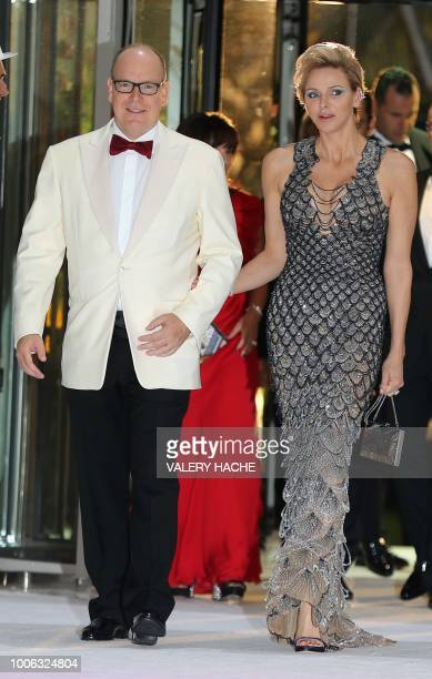 Prince Albert II of Monaco and Princess Charlene of Monaco arrive to attend the 70th annual Red Cross Gala at the MonteCarlo Sporting Club on July 27...