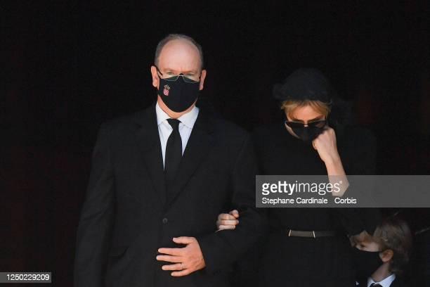 Prince Albert II of Monaco and Princess Charlene of Monaco attend ElizabethAnn De Massy's Funerals at the Monaco Cathedral on June 17 2020 in Monaco...