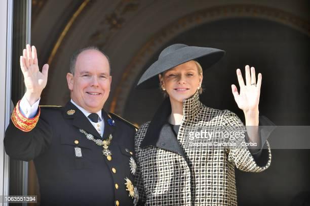 Prince Albert II of Monaco and Princess Charlene of Monaco attend Monaco National Day Celebrations on November 19 2018 in MonteCarlo Monaco