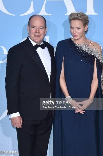 Prince Albert II of Monaco and Princess Charlene of Monaco attend the MonteCarlo Gala for the Global Ocean 2018 on September 26 2018 in MonteCarlo...