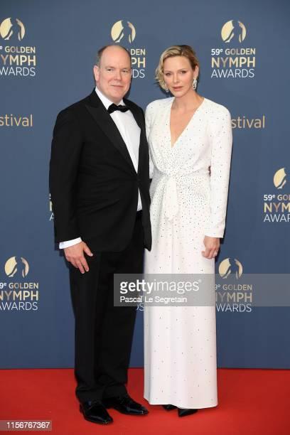 Prince Albert II of Monaco and Princess Charlene of Monaco attend the closing ceremony of the 59th Monte Carlo TV Festival on June 18 2019 in...