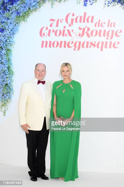 Prince Albert II of Monaco and Princess Charlene of Monaco attend the 71th Monaco Red Cross Ball Gala on July 26, 2019 in Monaco, Monaco.