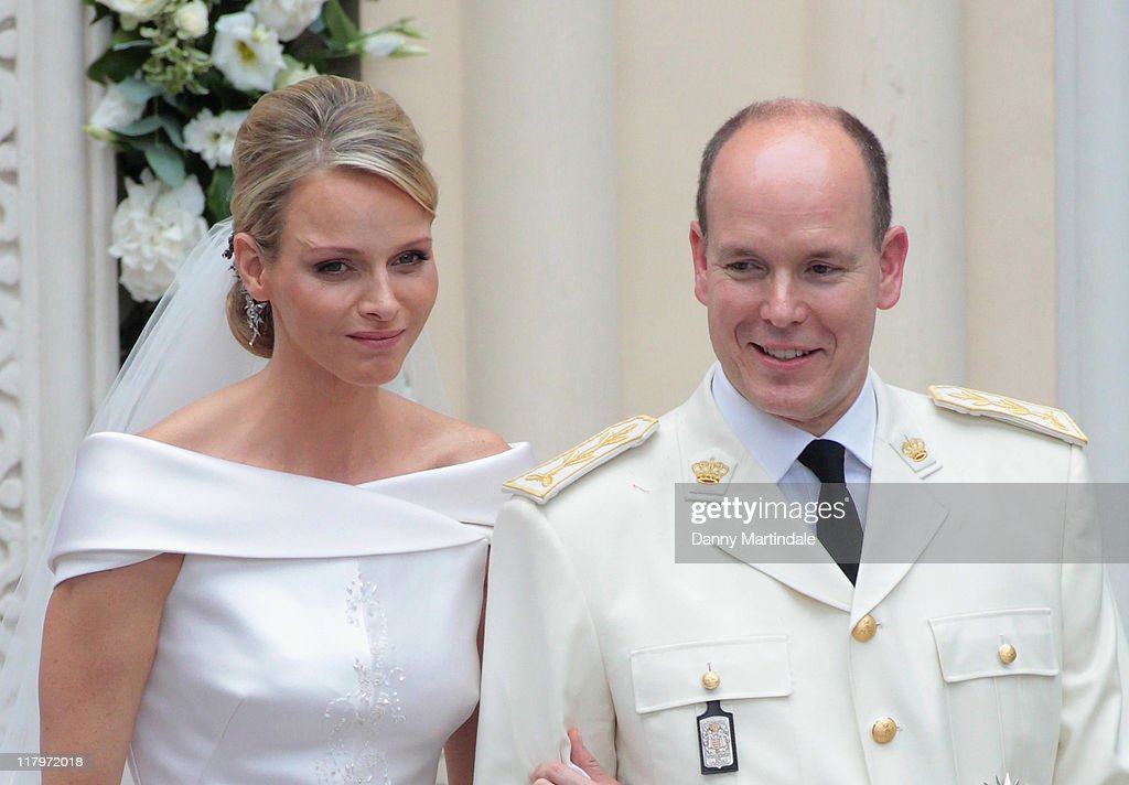 Prince Albert II of Monaco and Princess Charlene of Monaco attend the religious ceremony of the Royal Wedding of Prince Albert II of Monaco to Charlene Wittstock in the Saint Devota Church on July 2, 2011 in Monaco, Monaco.
