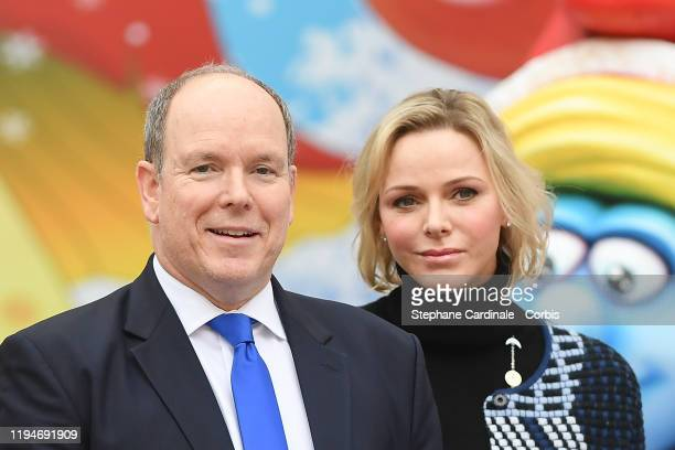 Prince Albert II of Monaco and Princess Charlene of Monaco attend the Christmas Gifts Distribution At Monaco Palace on December 18, 2019 in Monaco,...
