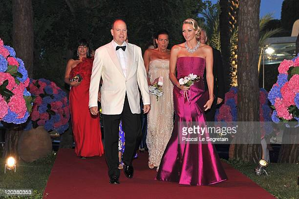 Prince Albert II of Monaco and Princess Charlene of Monaco attend the 63rd Red Cross Ball at the Sporting Monte-Carlo on August 5, 2011 in...