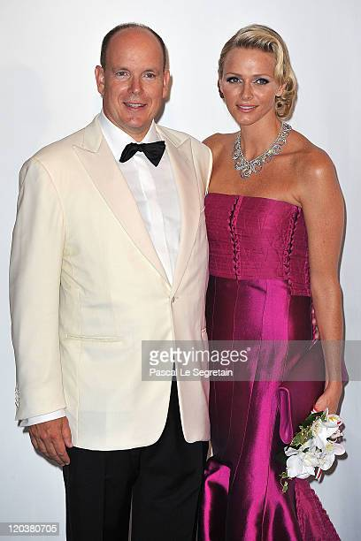 Prince Albert II of Monaco and Princess Charlene of Monaco attend the 63rd Red Cross Ball at the Sporting MonteCarlo on August 5 2011 in MonteCarlo...