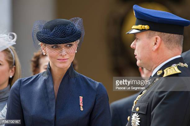 Prince Albert II of Monaco and Princess Charlene of Monaco attend the Monaco National Day Celebrations in the Monaco Palace Courtyard on November 19...