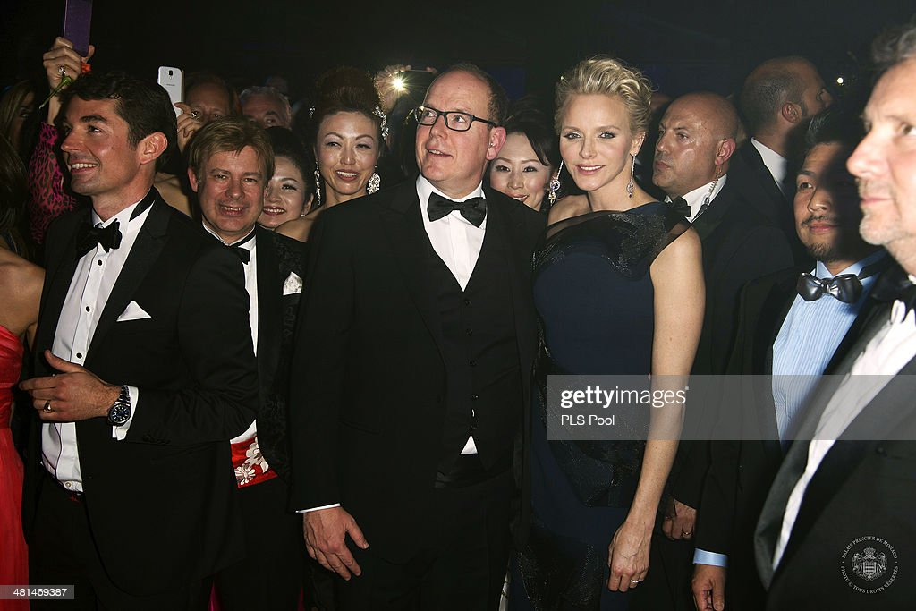 Prince Albert II of Monaco and Princess Charlene of Monaco attend the Rose Ball 2014 in aid of the Princess Grace Foundation at Sporting Monte-Carlo on March 29, 2014 in Monte-Carlo, Monaco.